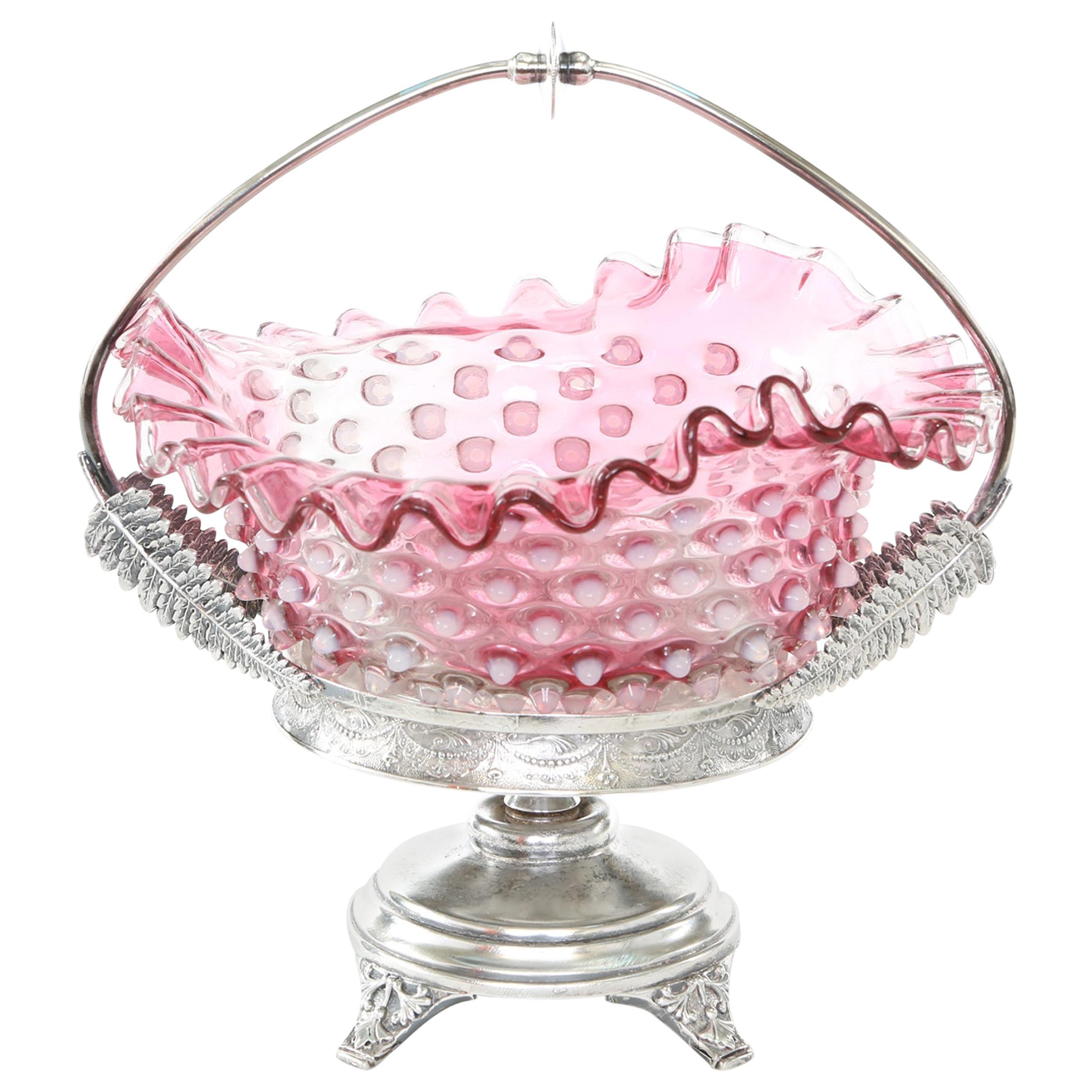 Silver Plated Framed Pink Crystal Brides Basket