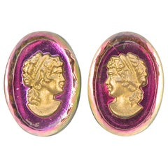 Silver Plated Fuchsia Pink and Clear Faceted Glass Gold Cameo Clip On Earrings