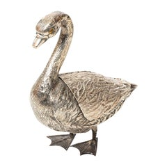 Silver Plated Goose Serving Dish