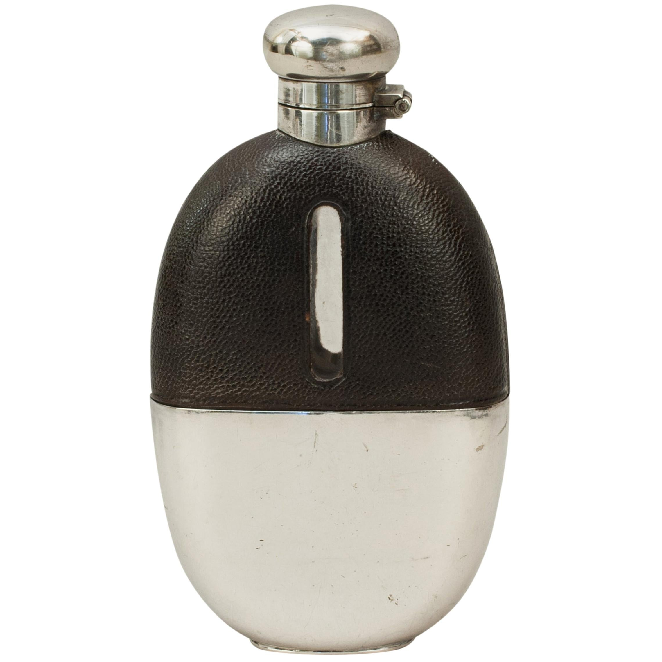 Silver Plated Hip Flask with Leather Cover and Cup