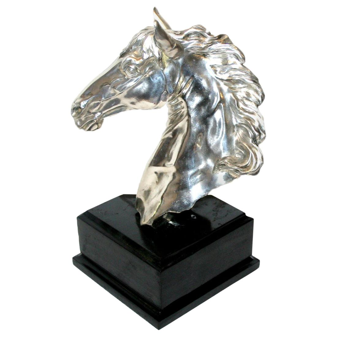 Silver Plated Horse Bust