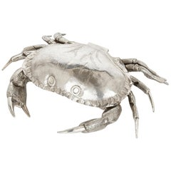 Silver Plated Italian Caviar Dish in the Shape of a Crab