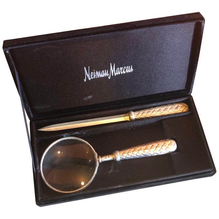Silver Plated Magnifying Glass and Letter Opener Set by GSA for Neiman Marcus For Sale