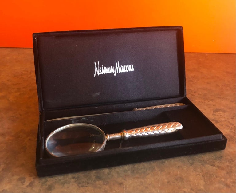 Silver Plated Magnifying Glass and Letter Opener Set by GSA for Neiman Marcus For Sale 6