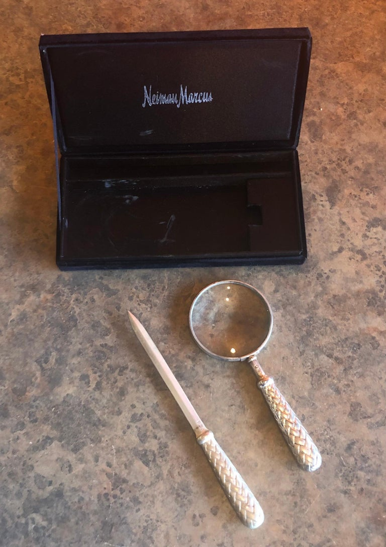 Silver Plated Magnifying Glass and Letter Opener Set by GSA for Neiman Marcus In Good Condition For Sale In San Diego, CA