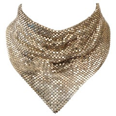 Silver Plated Mesh Chainmail Scarf Necklace circa 1970s
