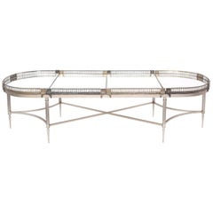 Silver Plated Mirrored Gallery Cocktail / Coffee Table