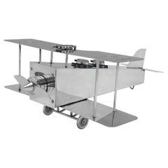 Silver Plated Novelty Bi-Plane Ink Stand by Franz Reichenberg, circa 1920