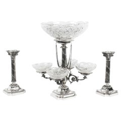 Silver Plated Pair of Candlesticks, Centrepiece 5 Cut Glass Bowls, 19th Century