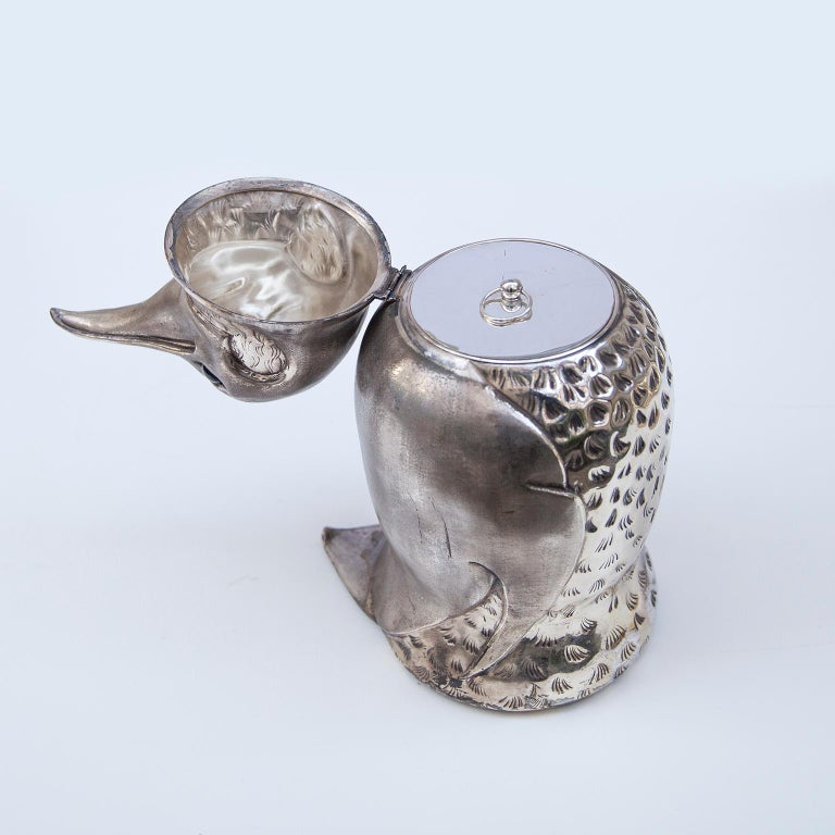Silver Plated Penguin Ice Bucket Wine Cooler, Italy, 1960s For Sale 1