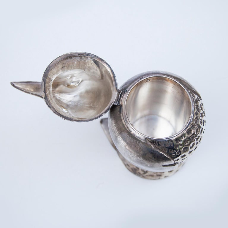 Silvered Silver Plated Penguin Ice Bucket Wine Cooler, Italy, 1960s