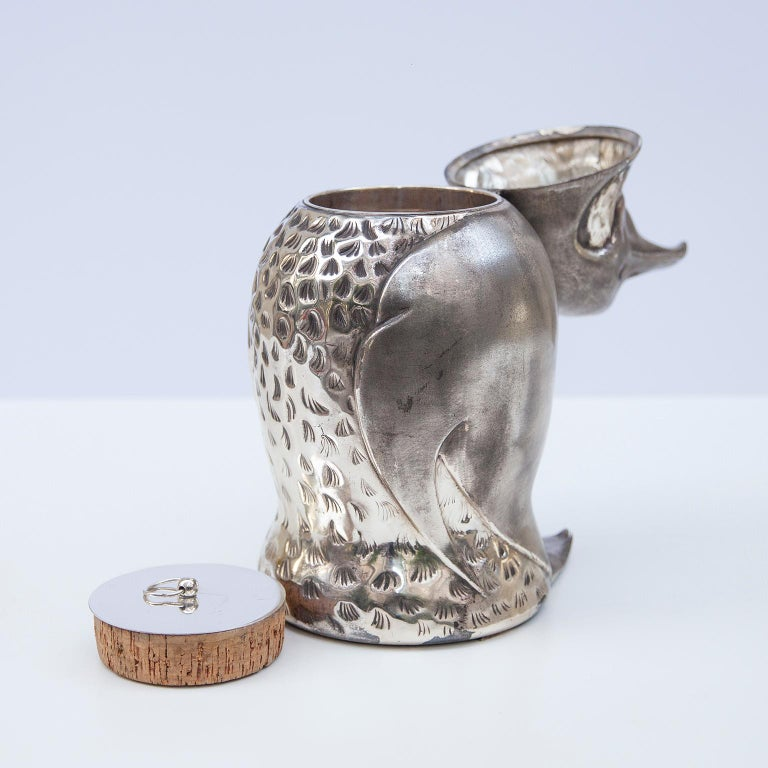 Silver Plated Penguin Ice Bucket Wine Cooler, Italy, 1960s For Sale 3