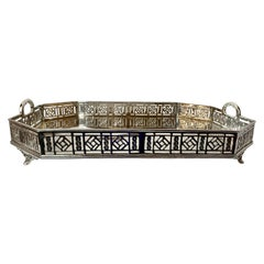 Silver Plated Pierced Footed Gallery Tray with Handles