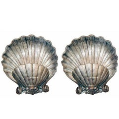 Silver Plated Plaster Shell Sconces