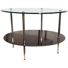 Silver Plated Reeded French Coffee Table Maison Charles Neoclassic, 1970
