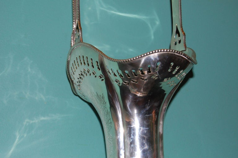 Unknown Silver Plated Repousse' Vase with Handle, circa 1900 For Sale