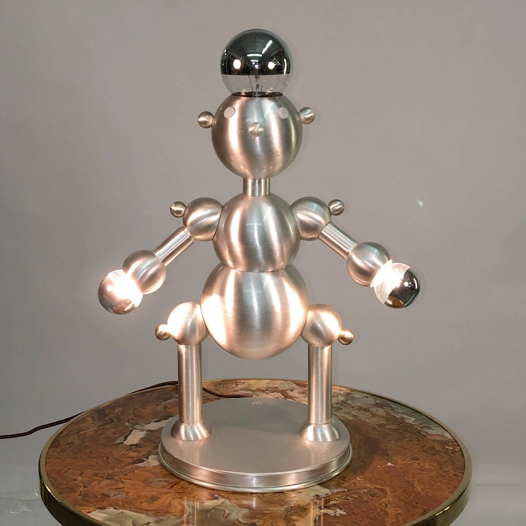 Silver Plated Robot Lamp For Sale 2