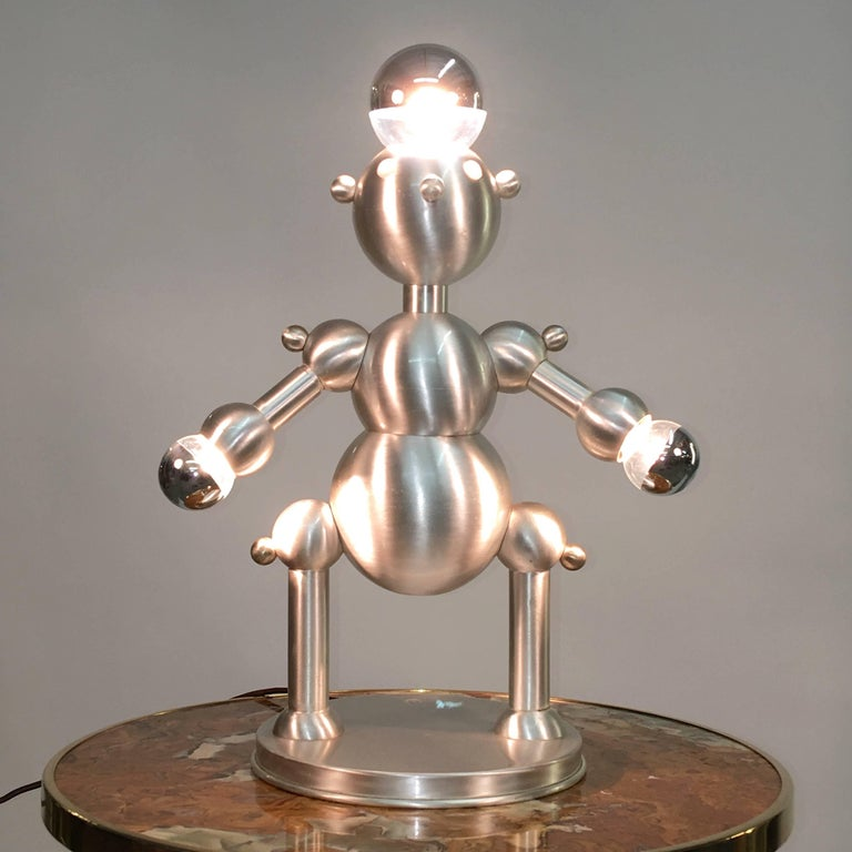 Silver Plated Robot Lamp For Sale 3