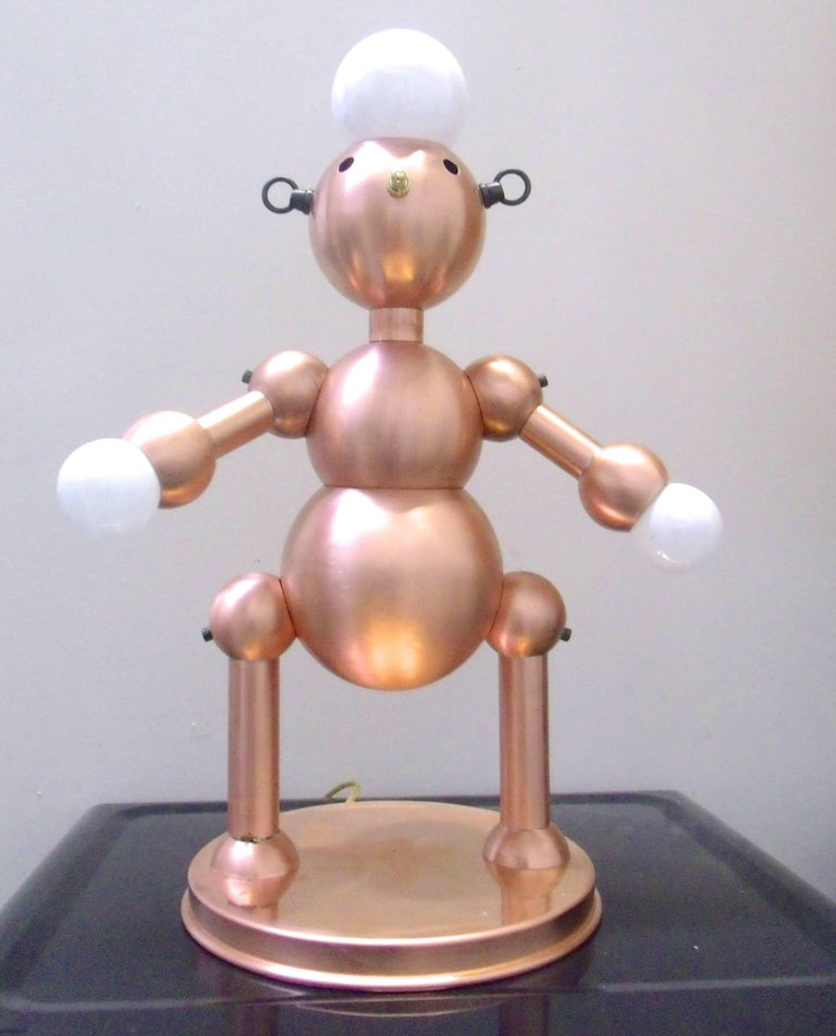 Silver Plated Robot Lamp For Sale 4