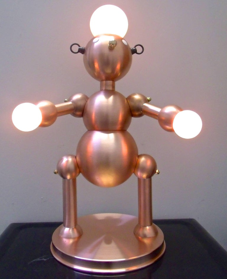 Silver Plated Robot Lamp For Sale 5