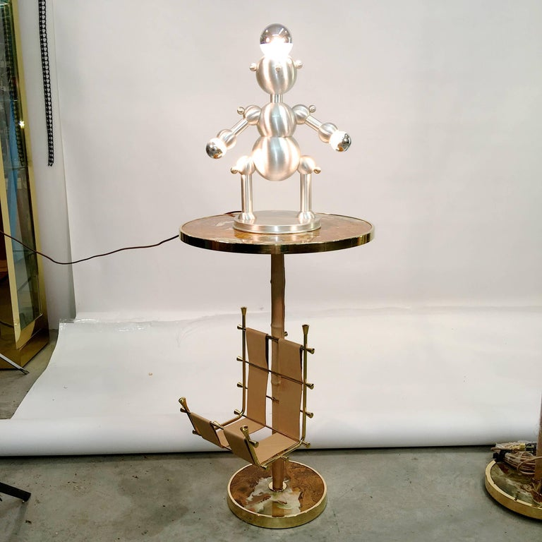 Silver Plated Robot Lamp For Sale 6
