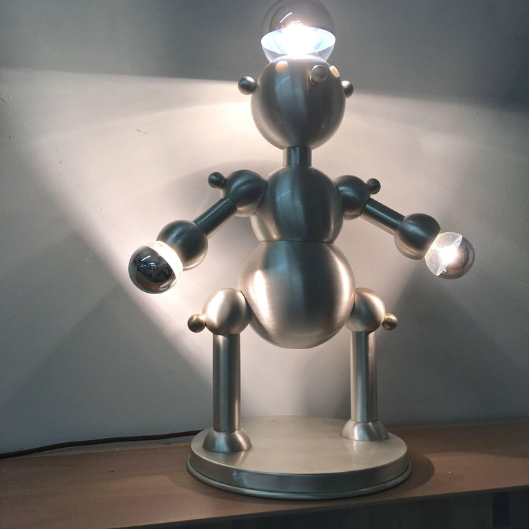 Silver Plated Robot Lamp For Sale 8
