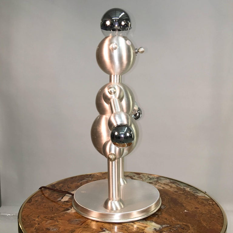 Mid-Century Modern Silver Plated Robot Lamp For Sale