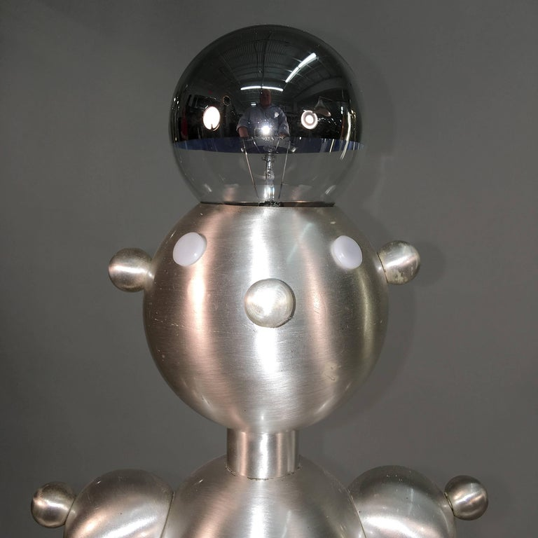 Silver Plated Robot Lamp In Excellent Condition For Sale In Hingham, MA