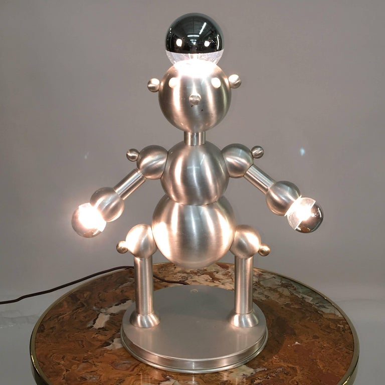 Copper Silver Plated Robot Lamp For Sale