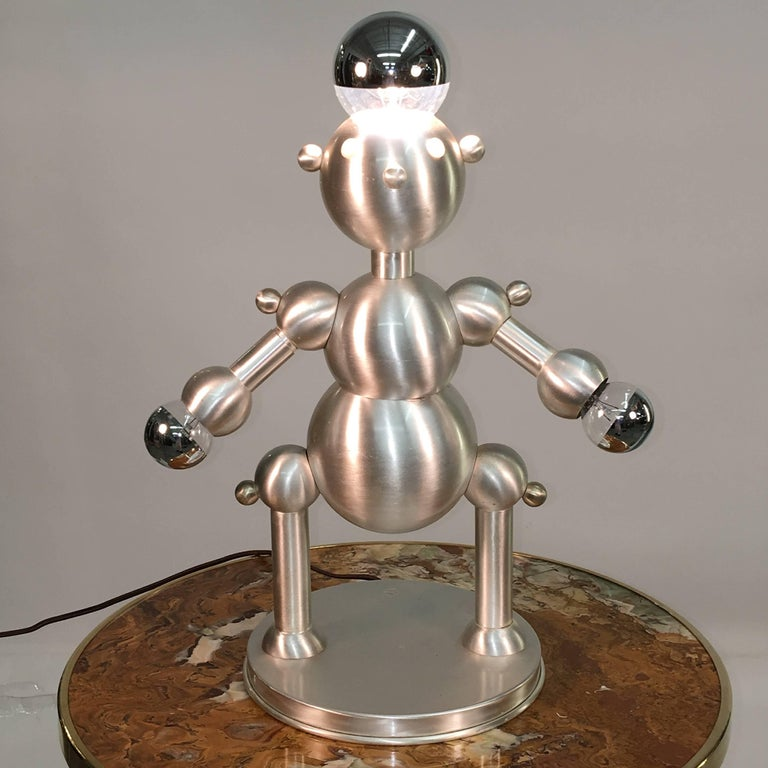 Silver Plated Robot Lamp For Sale 1