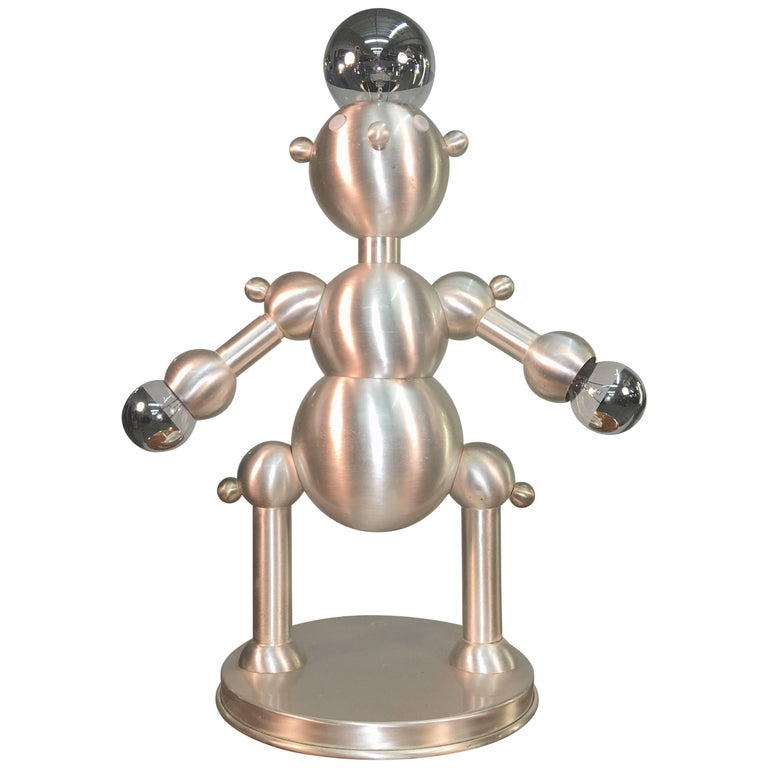 Silver Plated Robot Lamp For Sale