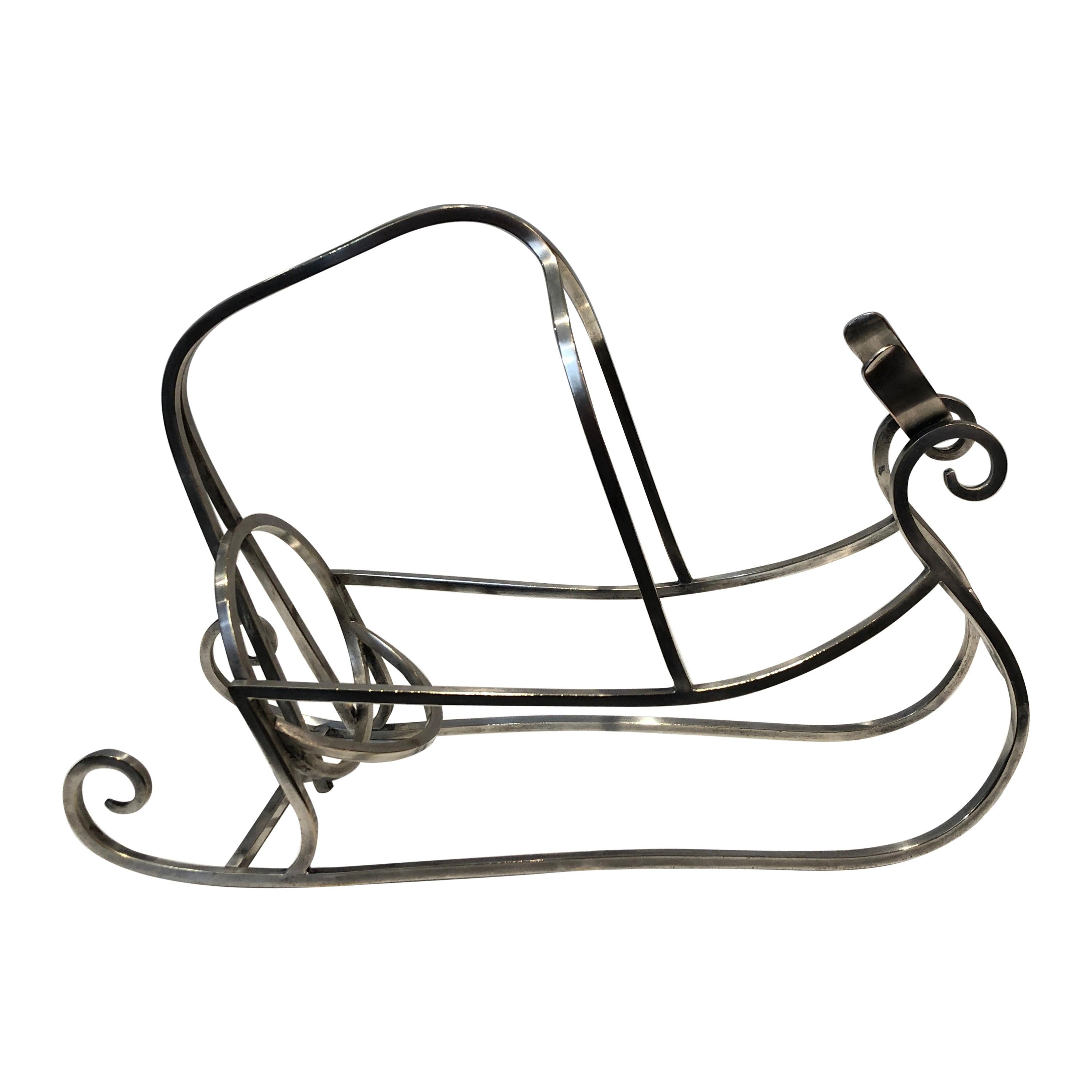 Silver Plated Sleigh Bottle Holder, French, Circa 1930