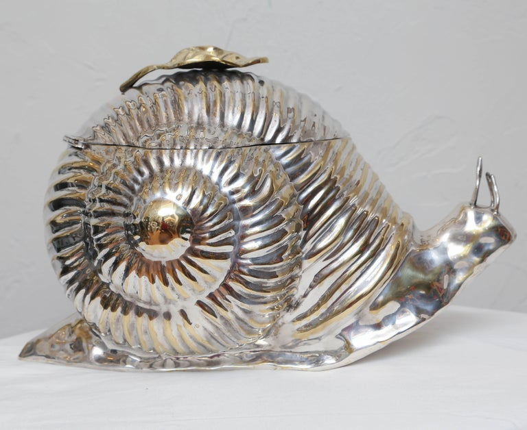 20th Century Silver Plated Snail Ice Bucket For Sale