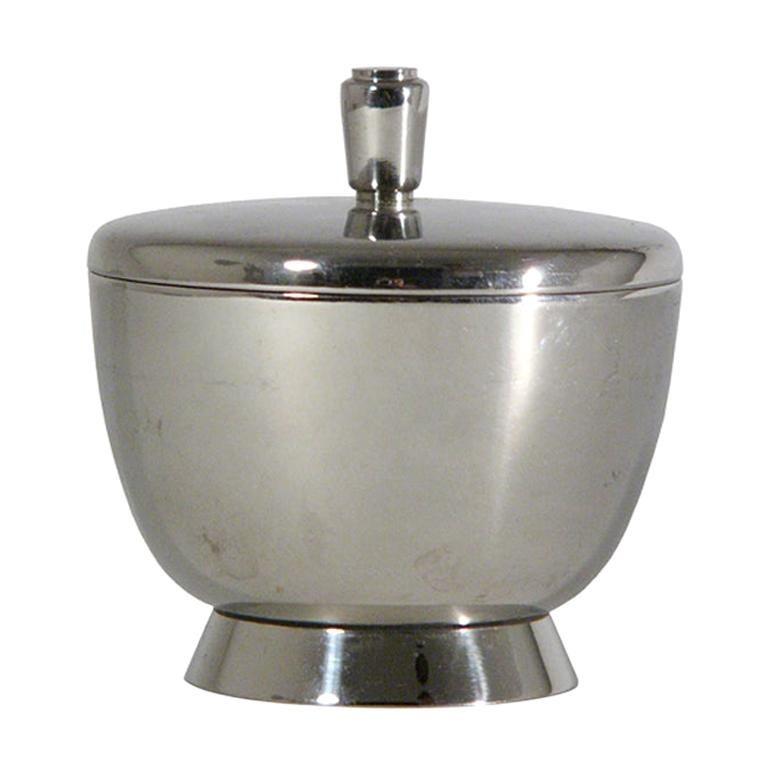Silver Plated Sugar Pot by Gio Ponti for Fratelli Calderoni, 1930s