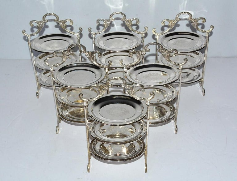 Vintage silver plated three-tier afternoon tea stand for high tea service. perfect for tidbits, appetizers, small finger sandwiches, small pastries, sweet or savories. Can also be used as a centerpiece or holding condiments on a kitchen