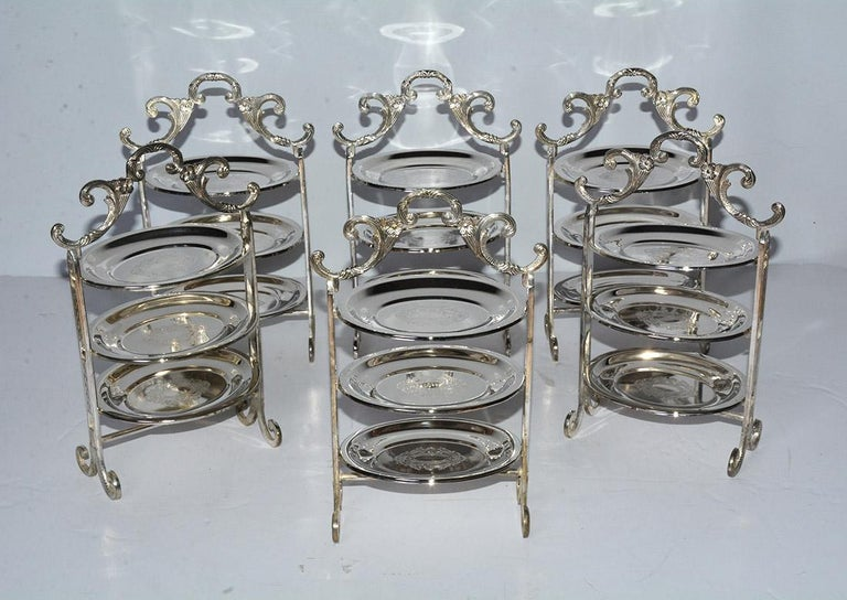 Victorian Silver Plated Tiered High Tea Serving Trays or Cake Stand, 10+ Sets Available For Sale