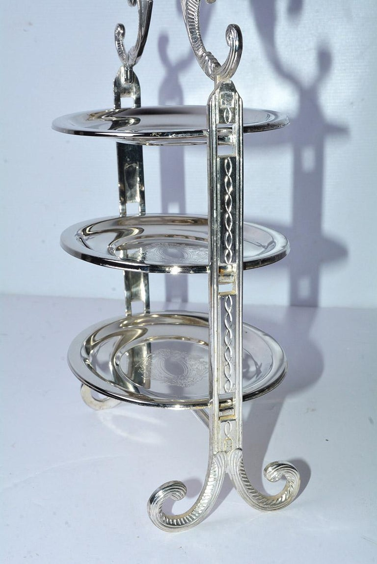 North American Silver Plated Tiered High Tea Serving Trays or Cake Stand, 10+ Sets Available For Sale