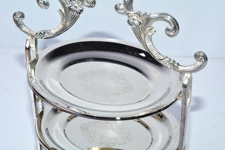 Silver Plated Tiered High Tea Serving Trays or Cake Stand, 10+ Sets Available In Good Condition For Sale In Great Barrington, MA