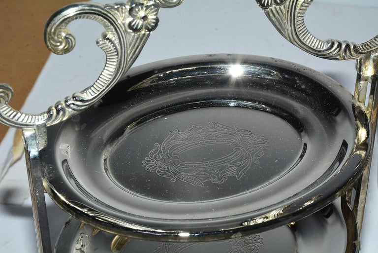 20th Century Silver Plated Tiered High Tea Serving Trays or Cake Stand, 10+ Sets Available For Sale