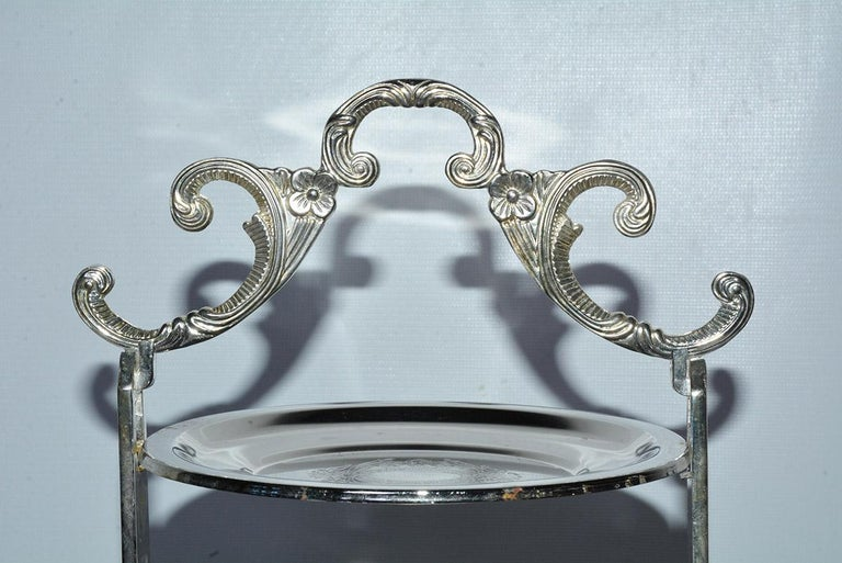 Silver Plated Tiered High Tea Serving Trays or Cake Stand, 10+ Sets Available For Sale 1