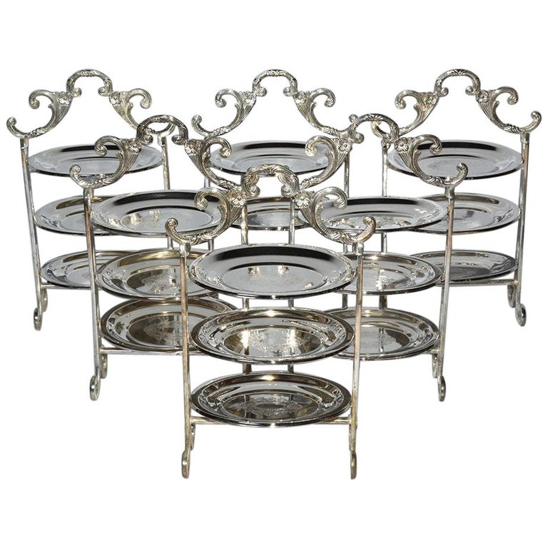 Silver Plated Tiered High Tea Serving Trays or Cake Stand, 10+ Sets Available For Sale
