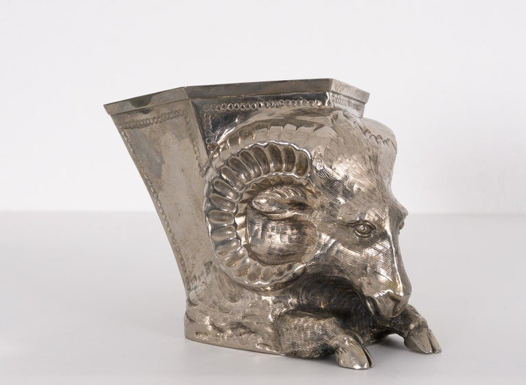 "Rare hand worked and chiselled silver plated vase in the form of a Ram. Designed by Gabriella Crespi part of the ""Animalia"" series possibly for Christian Dior. Signed underneath,