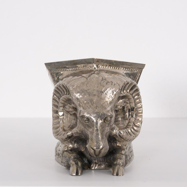 Late 20th Century Silver Plated Vase by Gabriella Crespi For Sale