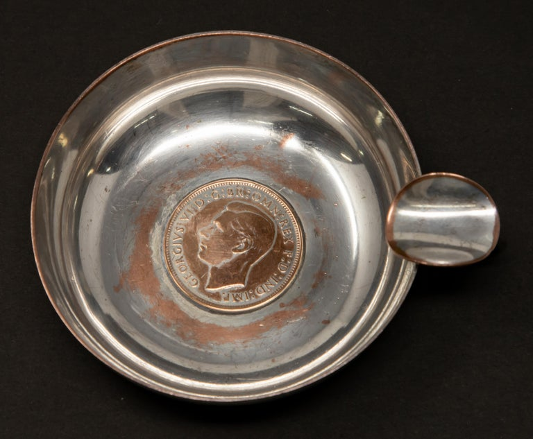 Other Silver Plated Victoria Wine Taster with One Penny For Sale
