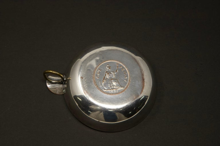 French Silver Plated Victoria Wine Taster with One Penny For Sale