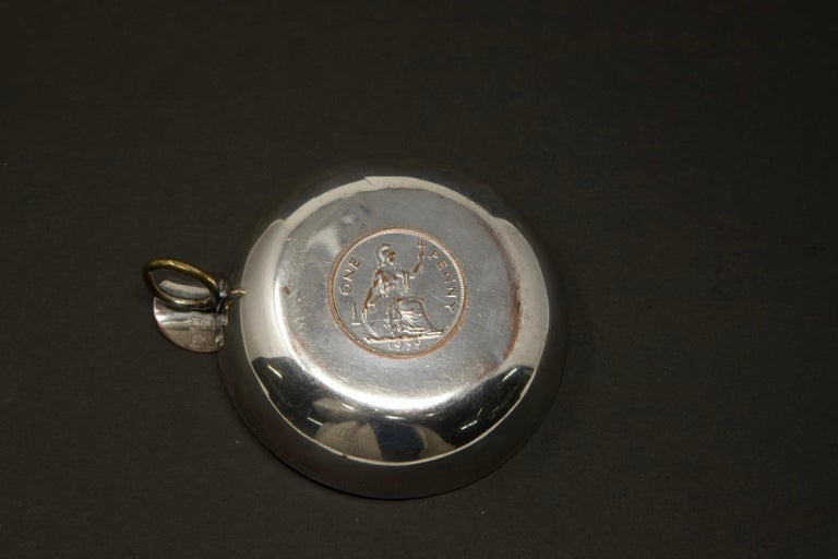 Silver Plated Victoria Wine Taster with One Penny In Distressed Condition For Sale In Cookeville, TN