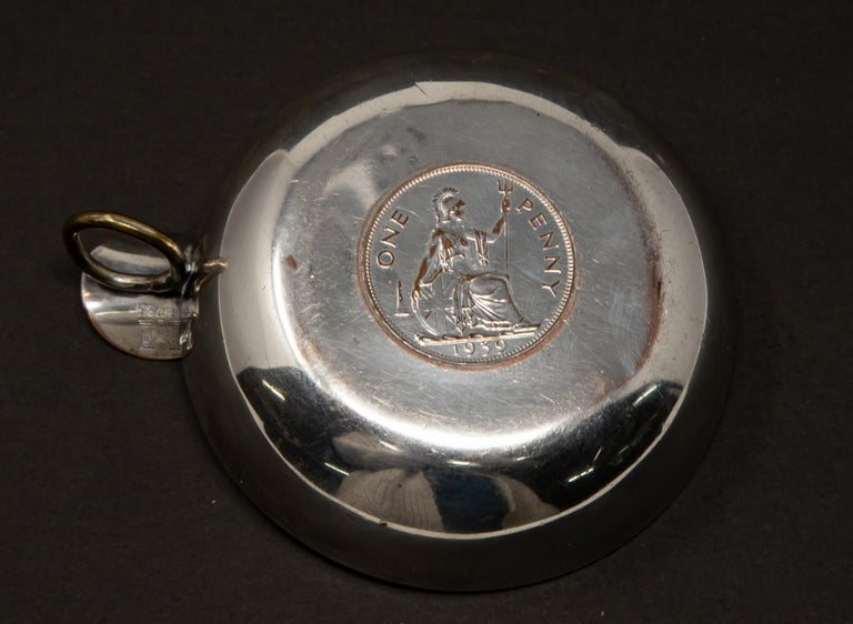 20th Century Silver Plated Victoria Wine Taster with One Penny For Sale