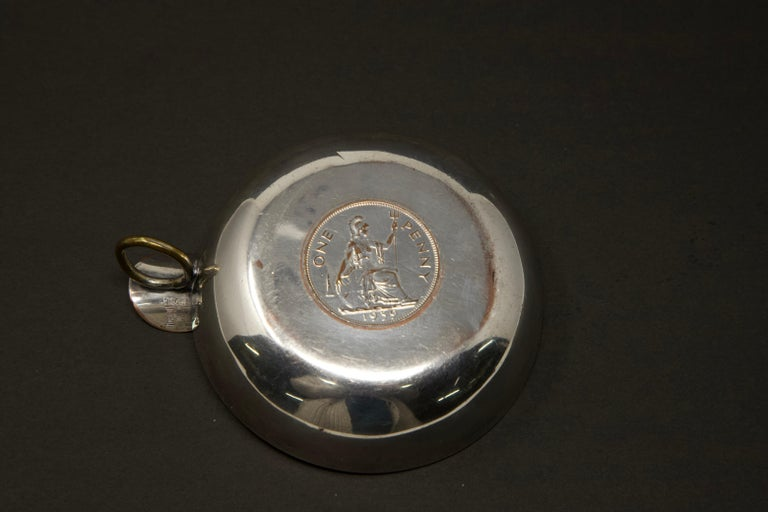 Silver Plated Victoria Wine Taster with One Penny For Sale 2