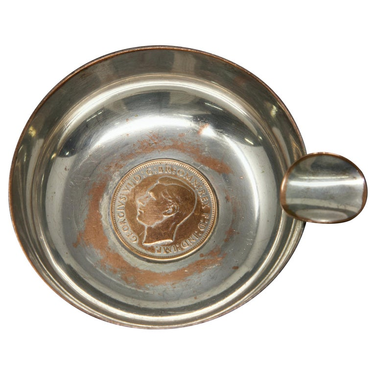 Silver Plated Victoria Wine Taster with One Penny For Sale