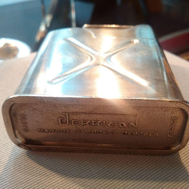 Mid-20th Century Silver Plated WW2 Novelty 'Jerrican' Table Lighter, French, 1940s For Sale
